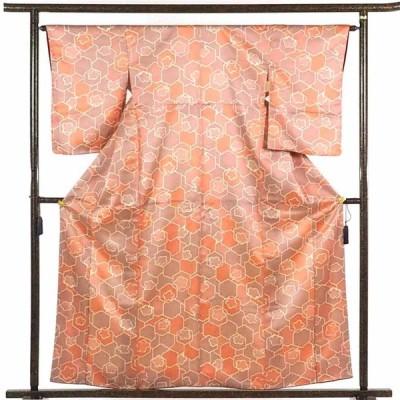 リサイクル着物 小紋 正絹赤地亀甲絞り柄袷小紋着物未着用品