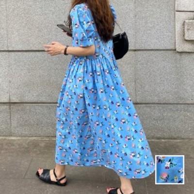 韓国 ファッション レディース ワンピース 春 夏 新作 カジュアル naloK000  ローウエスト ギャザー パフスリーブ ガーリー シンプル コ