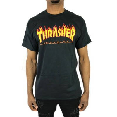 THRASHER スラッシャー Tシャツ フレイム ロゴ 黒 ブラック 炎 flame メンズ スケート メンズ ストリート トップス 半袖 春夏●tsa349