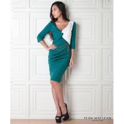 JEANMACLEAN ドレス ジャンマクレーン キャバドレス ナイトドレス ワンピース jean maclean 緑×白 9号 M 95545 クラブ スナック キャバ