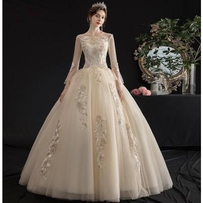 ウエディングドレス ロングドレス 披露宴 結婚式 二次会 後撮り 発表会用ドレス ブライダル プリンセスライン ワンピース レース パーティードレス 前撮り