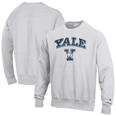 """スウェット """"Yale Bulldogs"""" Champion Arch Over Logo Reverse Weave Pullover Sweatshirt - Gray"""