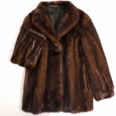 極美品▼MINK ミンク 裏地花柄刺繍入り 本毛皮ショートコート/ジャケット ブラウン 毛質艶やか・柔らか◎