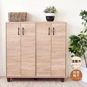 【Hopma】工業風四門五層鞋櫃/收納櫃-淺橡木