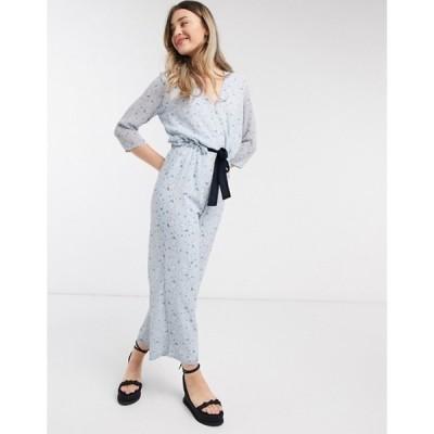 ヴィラ レディース ワンピース トップス Vila wrap jumpsuit with tie waist in blue floral