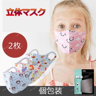 子供 マスク 子供用 使い捨てマスク 2枚 夏用 不織布 小さめ ウィルス対策 飛沫防止 花粉対策 3D 立体型 三層構造 可愛い ピンク ブルー 柄 通学 キッズマスク
