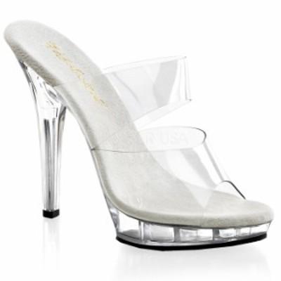 取寄 送料無料 ダブルストラップ付き 薄厚底サンダル 12.5cmピンヒール クリア Pleaserプリーザー 大きいサイズ 靴 イベント 仮装 女装