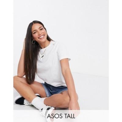 エイソス ASOS Tall レディース Tシャツ トップス ASOS DESIGN Tall ultimate organic cotton t-shirt with crew neck in white ホワイト