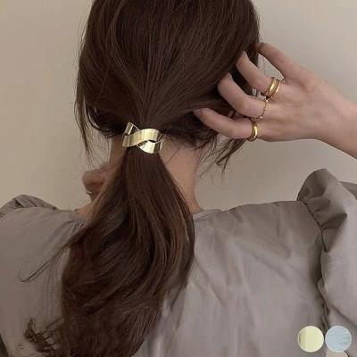 ヘアアクセサリー レディース ヘアゴム メタル ねじり モチーフ エレガント ゴールド シルバー デイリー オフィス 韓国ファッション