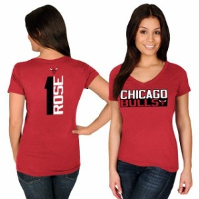 Majestic マジェスティック スポーツ用品  Majestic Derrick Rose Chicago Bulls Womens Red Name & Number V-Neck T-Shir