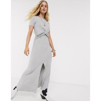 エイソス レディース ワンピース トップス ASOS DESIGN twist front maxi dress in gray marl