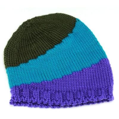 ニット帽 トリコロールカラー ビーニー ポップなデザイン ホールガーメント ウール スポーティー ターコイズブルー系
