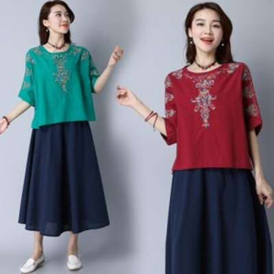 大きめサイズの M ~ XL 春 夏 エスニック 刺しゅう ゆったりスリーブ Tシャツ 70401