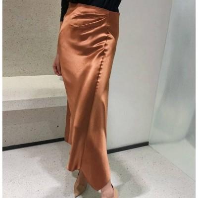 スカート サテンナロースカート サテン ピンクベージュ オレンジ グリーン ブルー 光沢 上品 艶やか 華やか ロング丈 ファスナー タイト フレア シンプル