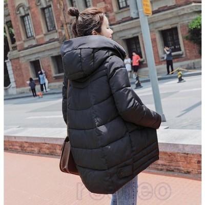 ロングコートレディースロング丈中綿ジャケットスプリングコートフード付きダウンコートアウター秋冬防寒防風おしゃれ