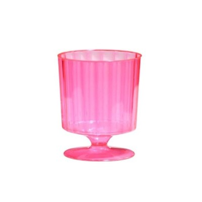 Party Essentials Hard Plastic One Piece 240ml Wine Glasses, Neon Pink, 10 C