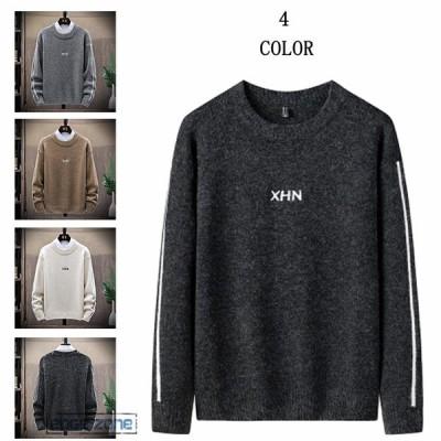 セーター メンズ ニット クルーネック ゆったり 英文字 長袖セーター トップス カットソー