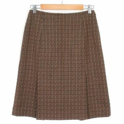 【中古】ボッシュ BOSCH スカート フレア タック 総柄 ジャガード ウール 40 茶 ブラウン レディース