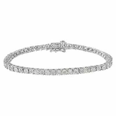 """.925 Sterling Silver 1/4 Cttw Diamond Illusion-Set Miracle Plate Tennis Bracelet (I-J Color, I3 Clarity) - 7"""""""