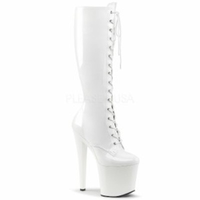 PLEASER プリーザー ブーツ 19 cm センチ ヒール ロングブーツ エナメル 白 ホワイト ピンヒール ハイヒール 厚底 編み上げ レースアップ