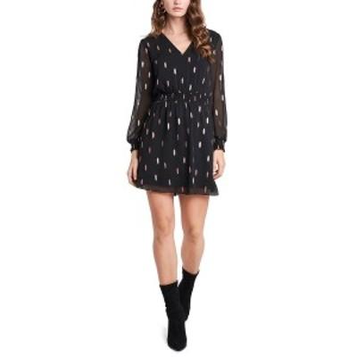 ワンステイト レディース ワンピース トップス Smocked Metallic-Print Dress Rich Black