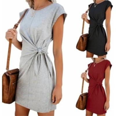女性の夏のファッション緩いラウンドネックドレス半袖単色カジュアルドレス