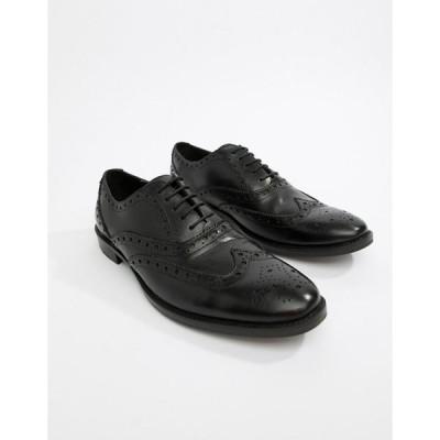 エイソス ビジネスシューズ メンズ ASOS DESIGN brogue shoes in black leather エイソス ASOS ブラック 黒