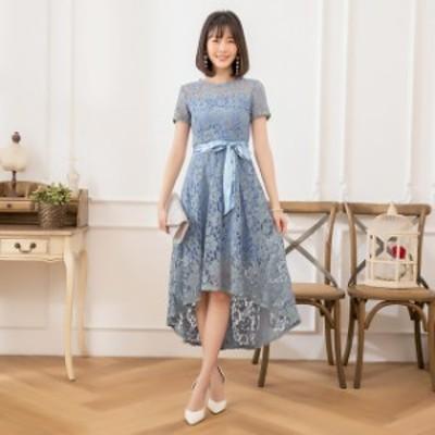 パーティドレス 結婚式 お呼ばれドレス レース ミモレ丈 半袖 袖あり フィッシュテール グリーン ブルー ダークブルー カーキ ブラック