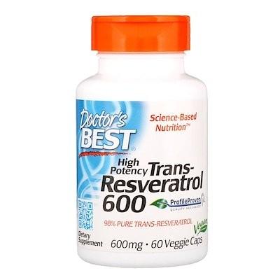 高効能トランスレスベラトロール、600 mg、植物性カプセル60粒