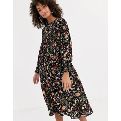 ネバーフリードレスド レディース ワンピース トップス Never Fully Dressed shirred midi skater dress in dark floral print Dark floral print