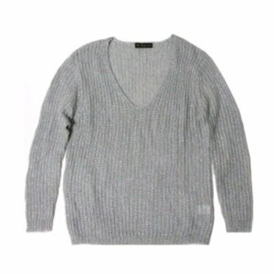 美品 CECIL McBEE セシルマクビー「M」Vネックローゲージニットセーター (シルバー グレー) 101808【中古】