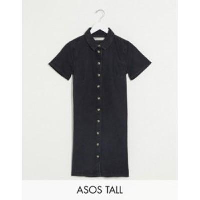 エイソス レディース ワンピース トップス ASOS DESIGN Tall soft denim smock shirt dress in washed black Washed black
