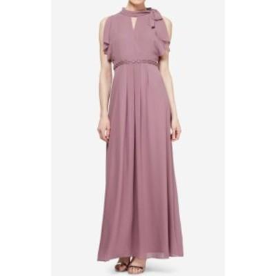 Maxi  ファッション ドレス SLNY NEW Purple Chiffon Mock Neck Womens Size 8 Maxi Gown Dress
