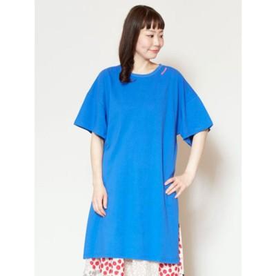 【チャイハネ】スリット入りオーバーサイズTシャツワンピース ブルー
