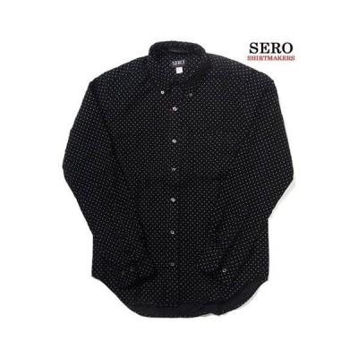 SERO セロ コーデュロイ ドット柄 ボタンダウンシャツ 長袖  コットン  カナダ製  メンズシャツ ブラック×ホワイト