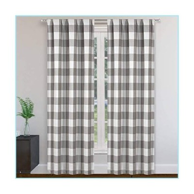 "新品Blackout 365 Aaron Buffalo Check Window Curtain, 37""W x 84""L, Grey (Rod Pocket)"