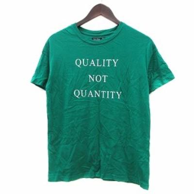 【中古】ベルシュカ Bershka カットソー Tシャツ クルーネック プリント 半袖 XS 緑 グリーン /MN メンズ