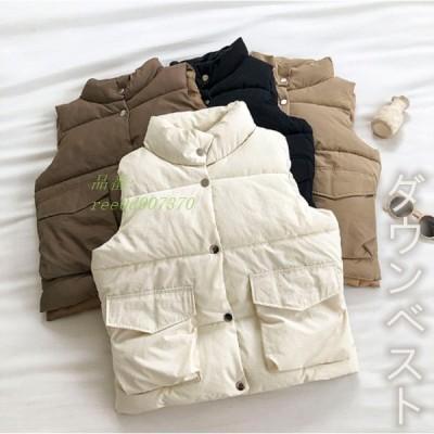 ダウンベスト 秋冬アウター 立ち襟 レディース服 袖なし 中綿 チョッキダウン 快適ファブリック ロング丈 3色 大きいサイズ