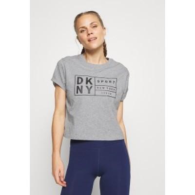 ダナ キャラン ニューヨーク レディース Tシャツ トップス BOXY TEE WITH OVERSIZED LABEL - Print T-shirt - pearl grey heather pearl