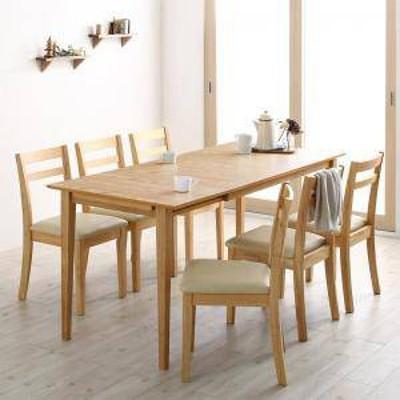 ダイニングテーブルセット 6人用 椅子 おしゃれ 伸縮式 伸長式 安い 北欧 食卓 7点 ( 机+チェア6脚 ) ワゴン無 幅120-165 デザイナーズ