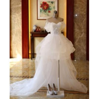 結婚式ワンピース お嫁さん 豪華な ウェディングドレス 花嫁 ドレス オフショルダー 花柄 白ドレス マキシドレス 姫系ドレス
