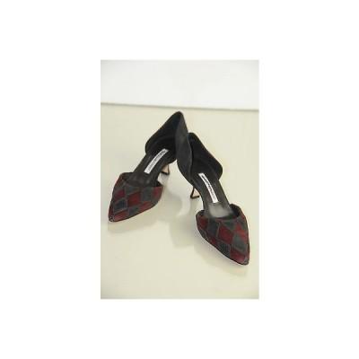 ハイヒール マノロブラニク Manolo Bi Color Blahnik Kitten Heel Suede Burgundy Black Pumps Shoes 36.5