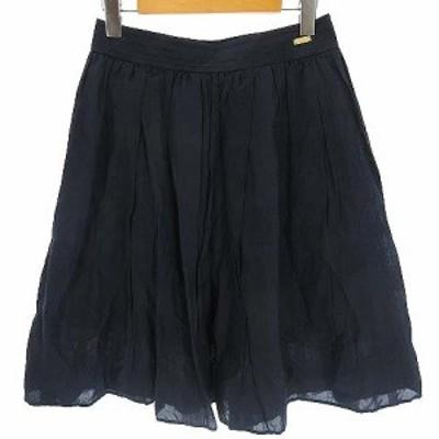 【中古】ブルーレーベルクレストブリッジ BLUE LABEL CRESTBRIDGE スカート フレア シャドーチェック ひざ丈 紺 38