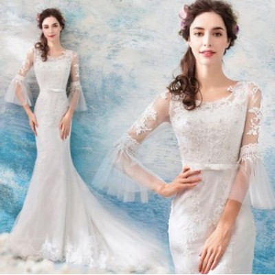姫系 フレア袖 レース マーメイドドレス トレーンドレス 結婚式 花嫁 ウェデイングドレス 着痩せ 編み上げ  ホワイト ブライダルドレス