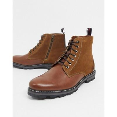 ベンシャーマン Ben Sherman メンズ ブーツ ショートブーツ レースアップブーツ シューズ・靴 lace up ankle boots in tan leather suede mix