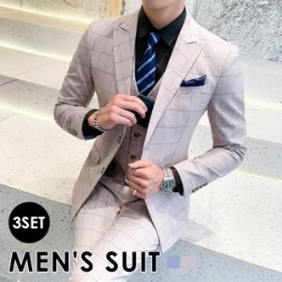 秋新作 大きいサイズ メンズ スーツ 3点セット チェック柄 メンズ スリーピーススーツ テーラードジャケット ベスト 長ズボン フォーマル