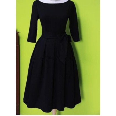 ドレス ブラックドレス レトロ セクシー エレガント ウエストベルト イブニングドレス