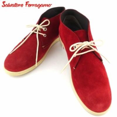 【ラスト1個】 サルヴァトーレ フェラガモ ブーツ シューズ 靴 メンズ ♯8 デザートブーツ チャッカブーツ レッド ベージュ スエード Sal