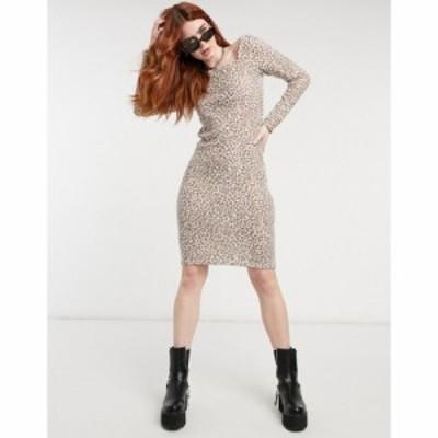 エイソス ASOS DESIGN レディース ワンピース ミニ丈 Asos Design Super Soft Square Neck Dress In Mini Leopard Print レオパードプリ