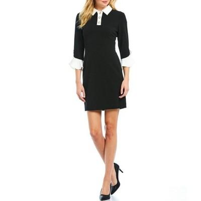 カール ラガーフェルド レディース ワンピース トップス Pearl Collar Contrast Bell Sleeve Scuba Crepe Sheath Dress